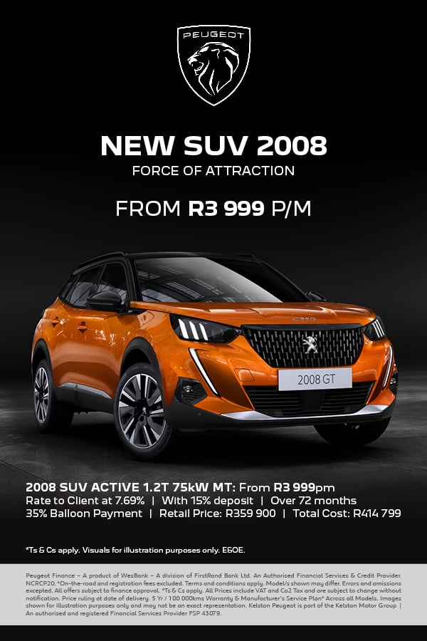 Drive the all-new Peugeot 2008 SUV from R3,999pm